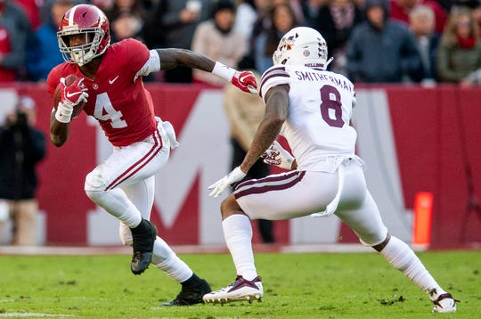 Alabama wide receiver Jerry Jeudy (4) carries the ball against Mississippi State cornerback Maurice Smitherman (8) in first half action at Bryant Denny Stadium in Tuscaloosa, Ala., on Saturday November 9, 2018.