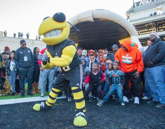 Alabama State's mascot leads the team tunnel before kickoff.