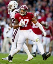 Alabama linebacker Christian Miller (47) celebrates sacking the Mississippi State University quarterback in first half action at Bryant Denny Stadium in Tuscaloosa, Ala., on Saturday November 9, 2018.