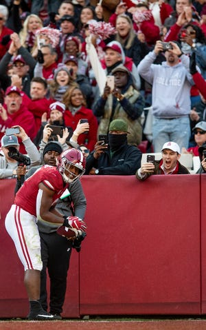 Alabama running back Josh Jacobs (8) celebrates his touchdown against Mississippi State Universityin first half action at Bryant Denny Stadium in Tuscaloosa, Ala., on Saturday November 9, 2018.