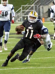 Alabama State's Chris Scott takes holds onto the ball for a play during the second half.