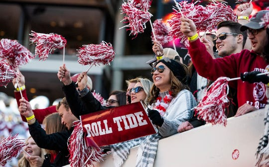 Alabama fans cheer during first half action against Mississippi State University at Bryant Denny Stadium in Tuscaloosa, Ala., on Saturday November 9, 2018.
