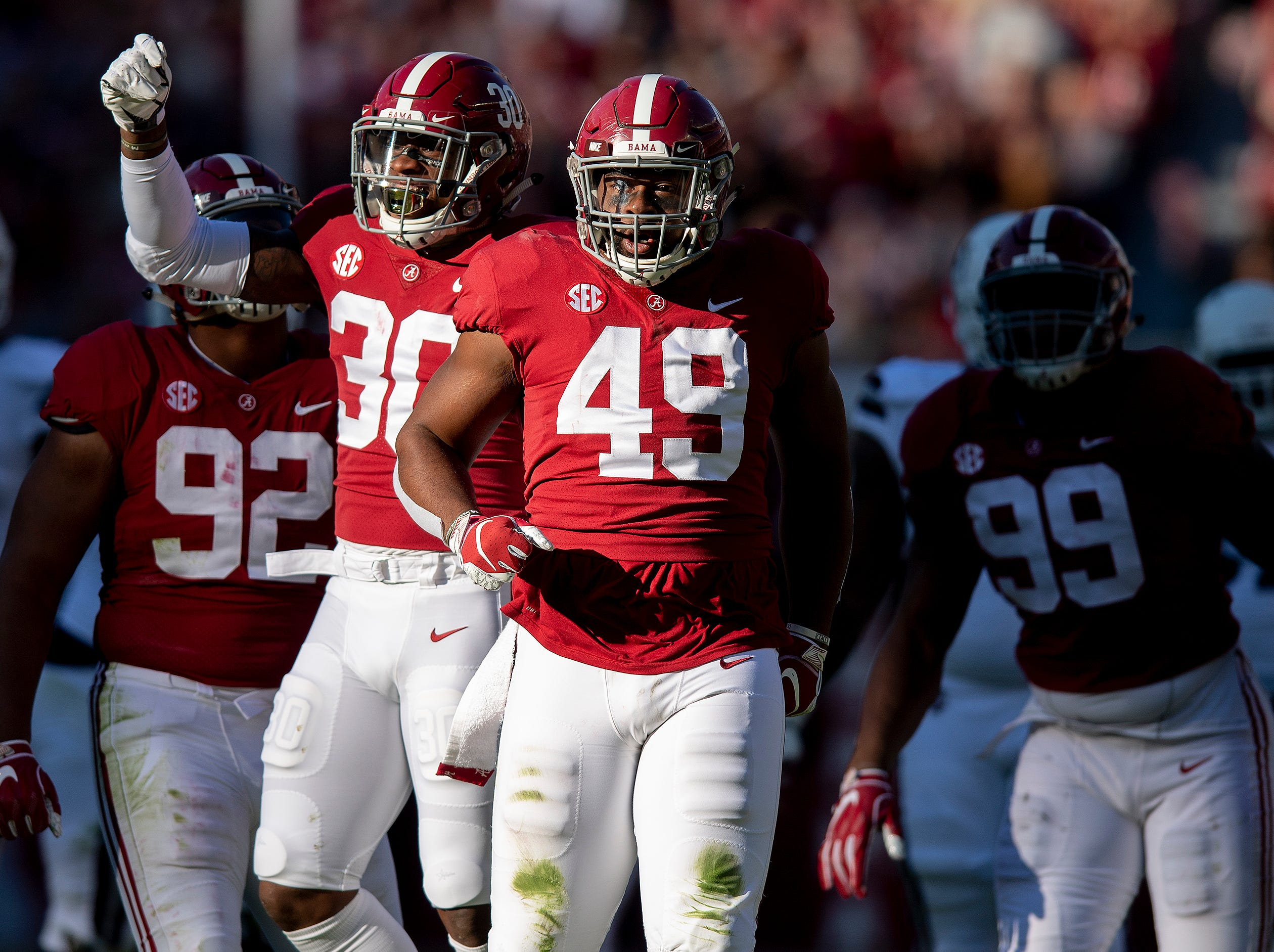 Alabama linebacker Mack Wilson (30) and defensive lineman Isaiah Buggs (49) celebrate a tackle for loss against Mississippi State University in first half action at Bryant Denny Stadium in Tuscaloosa, Ala., on Saturday November 9, 2018.