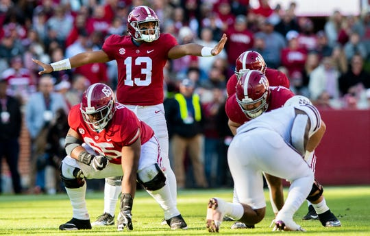 Alabama quarterback Tua Tagovailoa (13) directs from the line in first half action against Mississippi State at Bryant Denny Stadium in Tuscaloosa, Ala., on Saturday November 9, 2018.