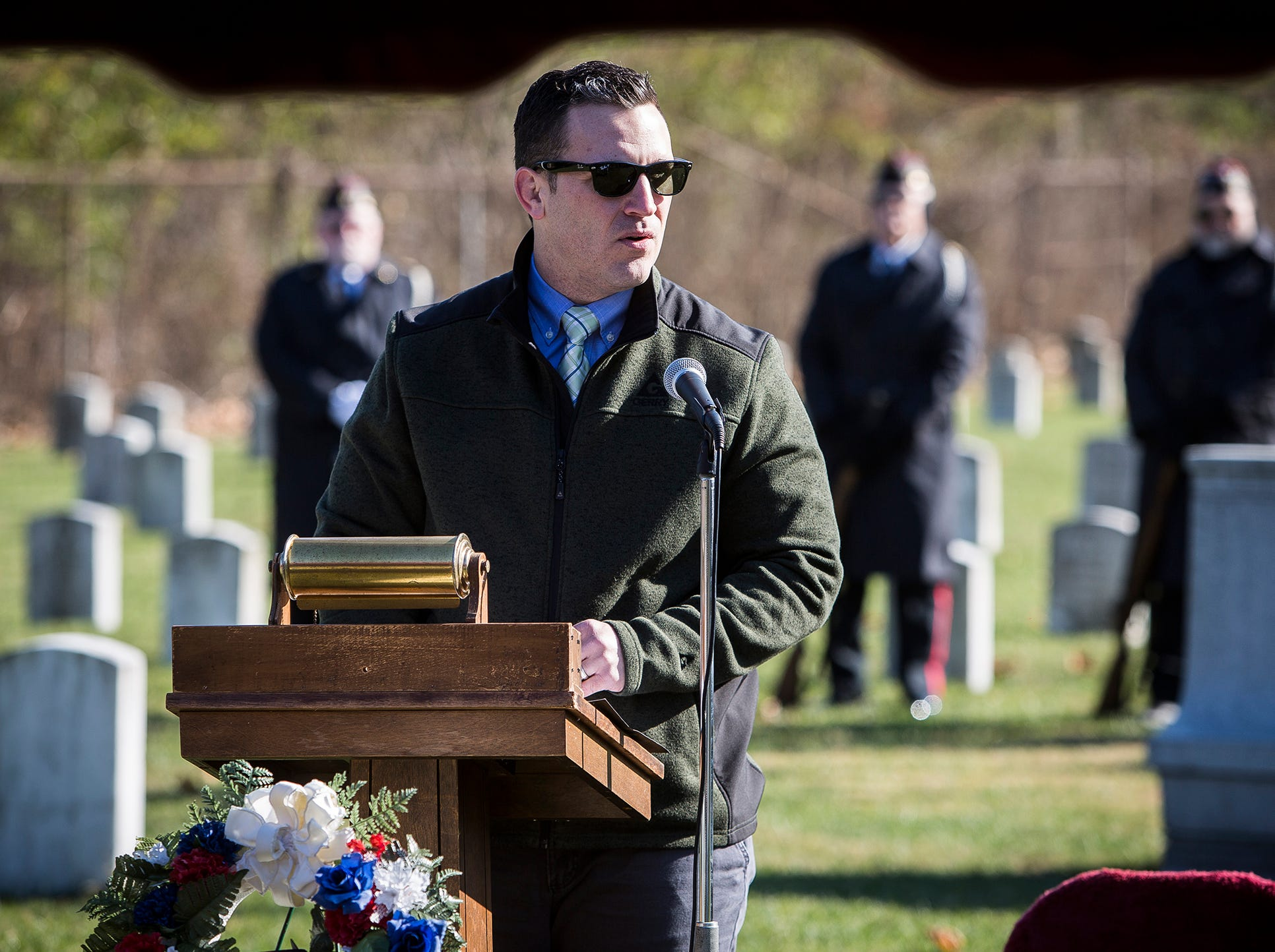 Veteran Zachary Tolle spoke during the Delaware County Veterans Day Service at Beech Grove Cemetery Sunday morning.