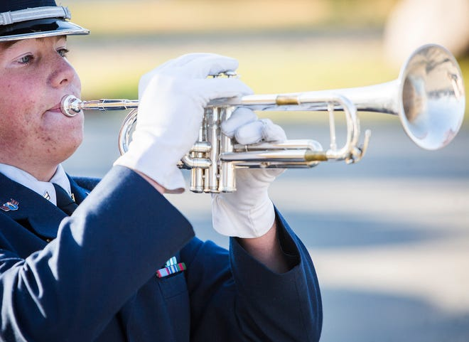 Taps is performed at Heekin Park during a past Delaware County Veterans Day program.
