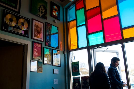 The new location of Grimey's New & Preloved Music in Nashville includes stained glass windows on Saturday, Nov. 10, 2018.