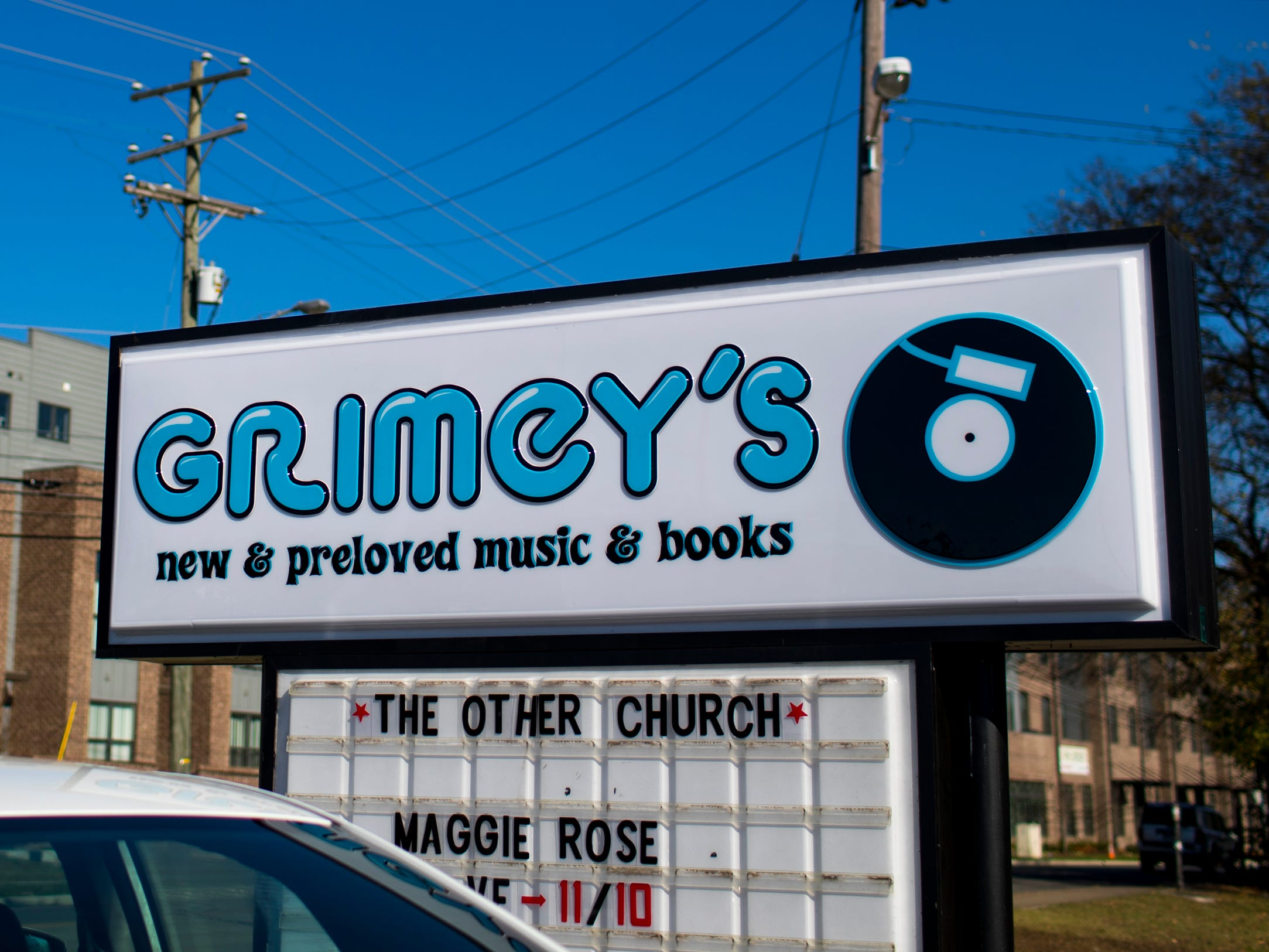 The sign outside of the new location of Grimey's New & Preloved Music in Nashville on Saturday, Nov. 10, 2018.