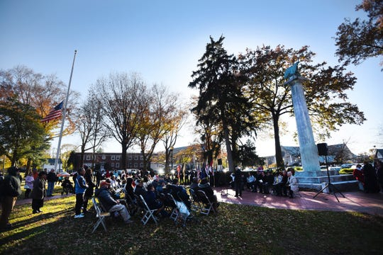 General scene of the Memorial service to commemorate the Centennial of the First World War, at Van Nest Square in Ridgewood on 11/11/18.