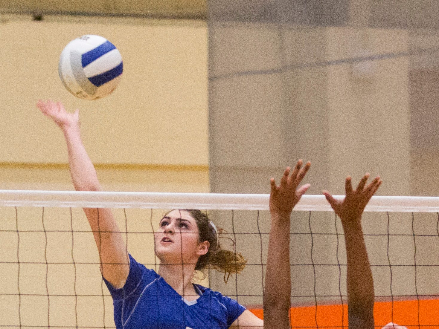 Northern Valley Regional at Demarest's Ohr Yahalomi (5) hits the ball against Rutherford High School's Abby Verderer (20) during the NJSIAA volleyball group two finals at William Paterson Recreation Center. Demarest won 25-13, 25-9.