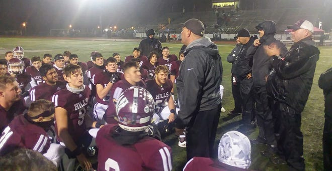 Wayne Hills coach Wayne Demikoff addressing his team after the Patriots defeated Morris Knolls, 42-7, in the North 1, Group 4 semifinal Nov. 9.
