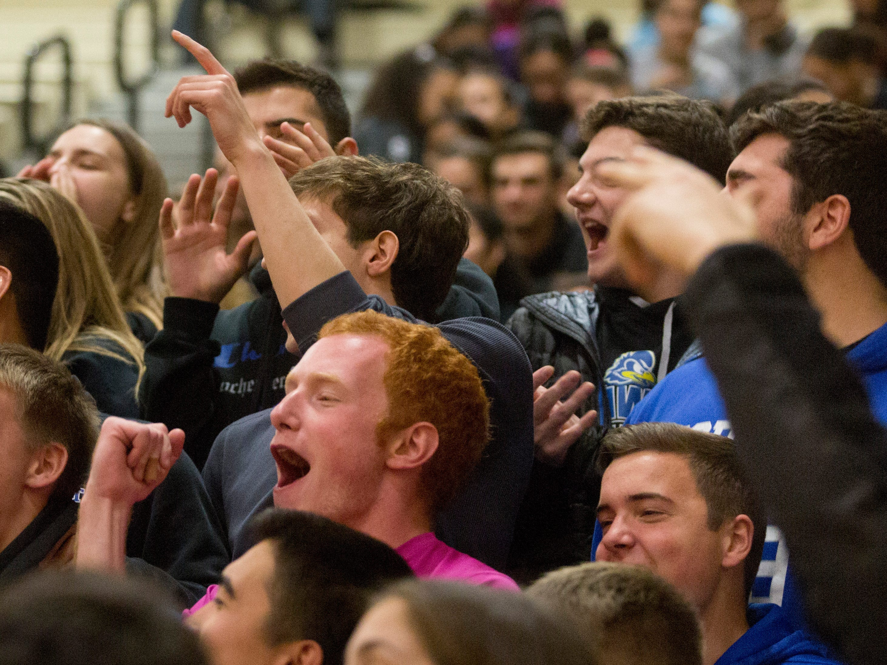 Aidan Bain (left) cheers for Northern Valley Regional at Demarest during the NJSIAA volleyball group two finals at William Paterson Recreation Center. Demarest won 25-13, 25-9.