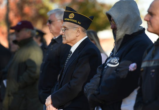 Gerald Bucci or Ridgewood, Veteran of the Marine Corp., listens to a speaker during the Memorial service to commemorate the Centennial of the First World War, at Van Nest Square in Ridgewood on 11/11/18.