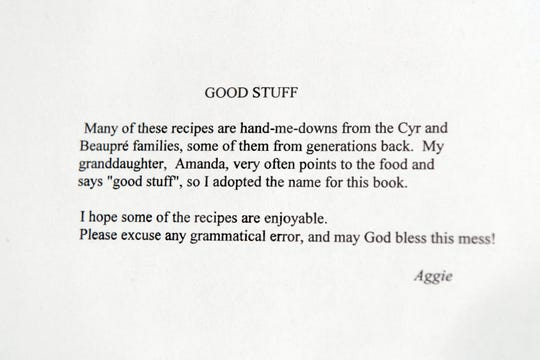 A note written by Amanda Carlson's grandmother Agatha at the back of the cookbook she wrote for the family before she passed in 2016.