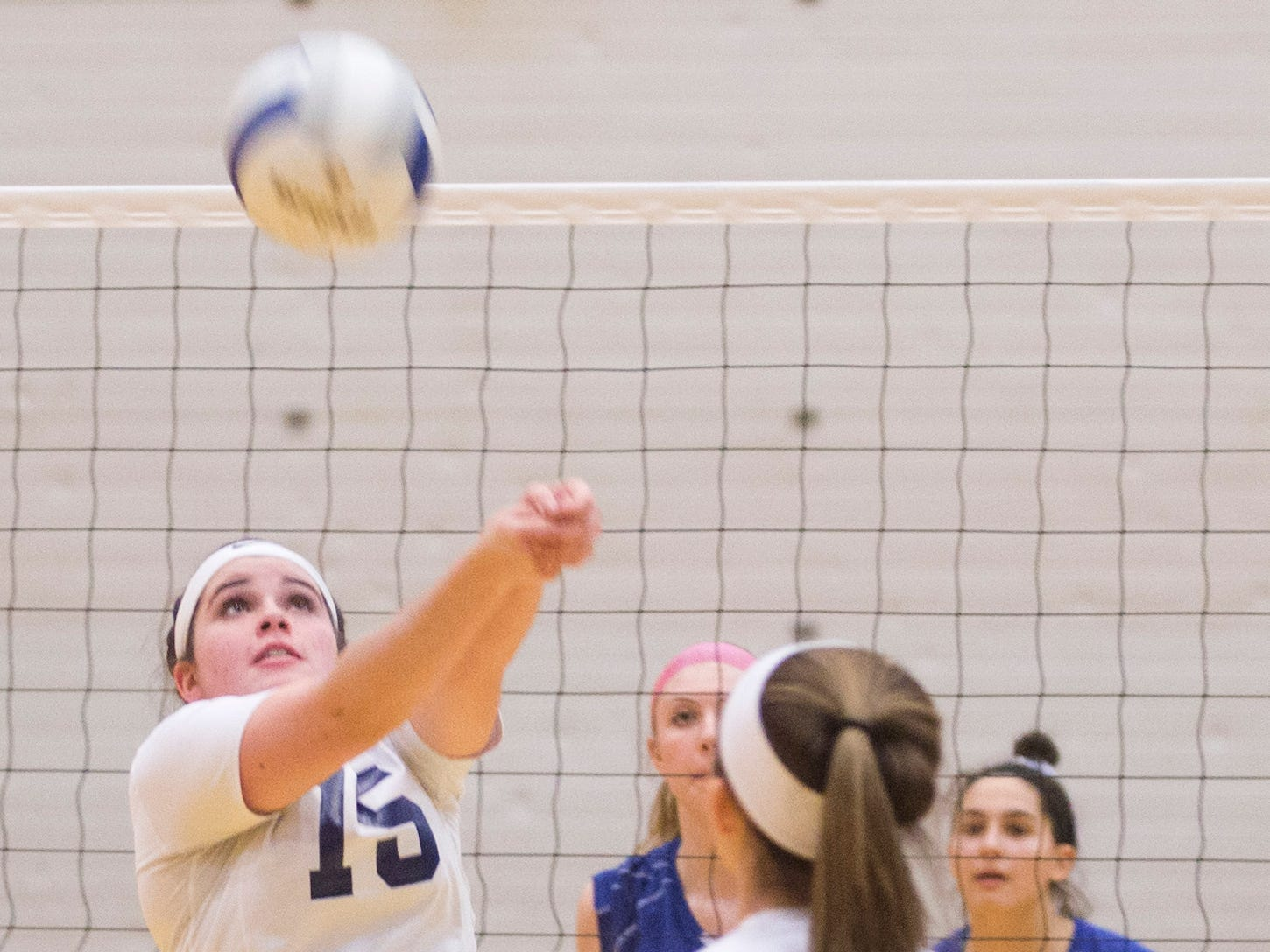 Rutherford High School's Mia Capobianco (15) sets the ball against Northern Valley Regional at Demarest during the NJSIAA volleyball group two finals at William Paterson Recreation Center. Demarest won 25-13, 25-9.