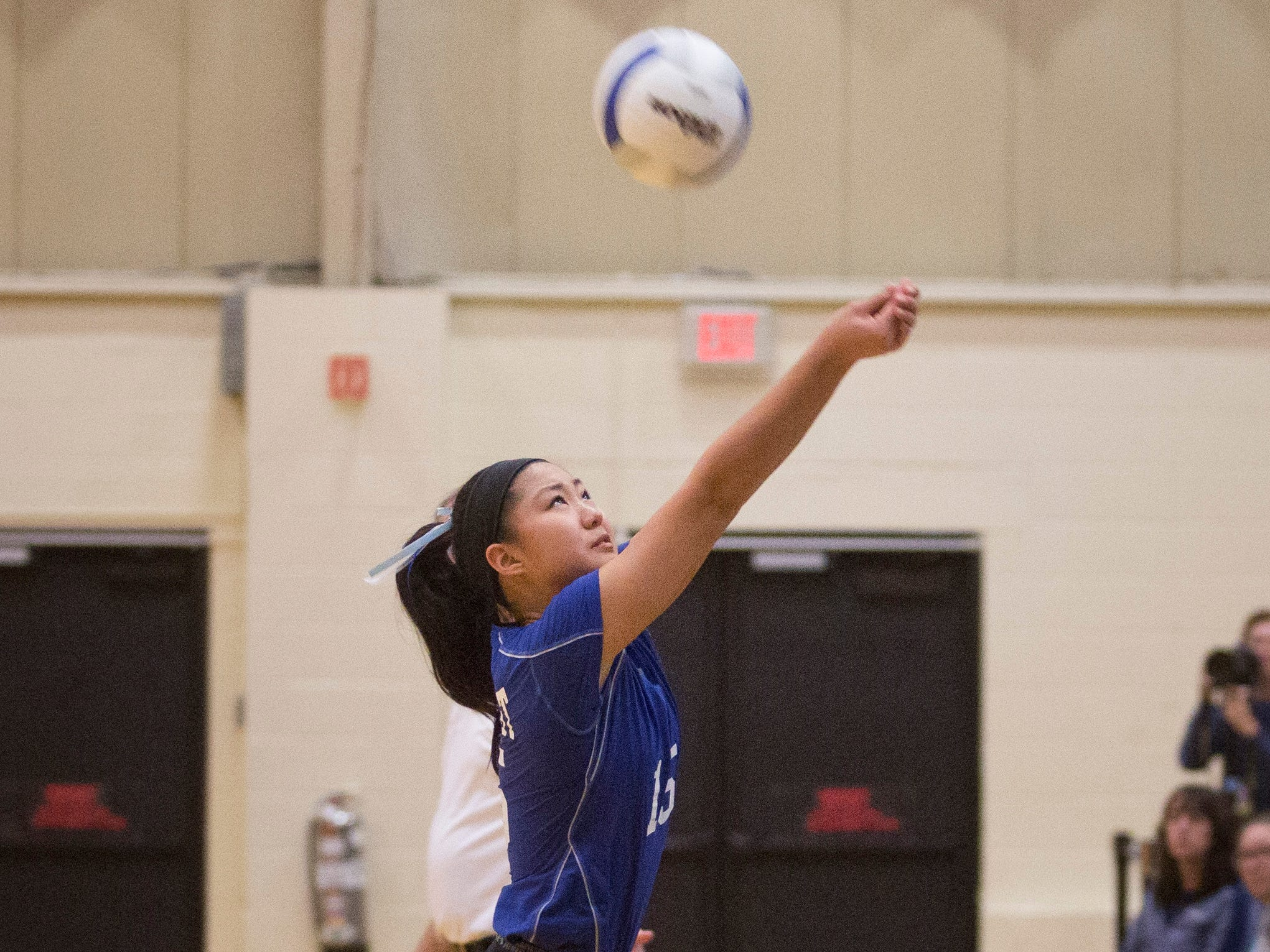 Northern Valley Regional at Demarest setter Liz Park (15) tries to save a volley during the NJSIAA volleyball group two finals at William Paterson Recreation Center. Demarest won 25-13, 25-9.