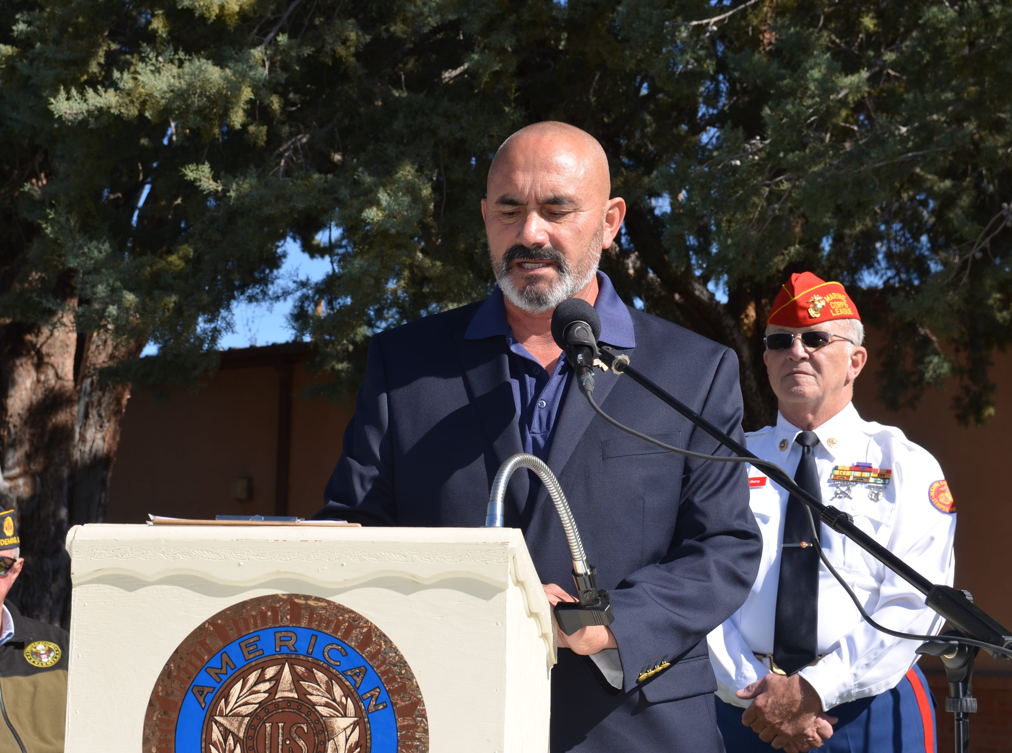 Deming Mayor Benny Jasso speaks in front of Veterans Day ceremony attendees and announces that a proclamation has been made in honor of Veterans Day and to remember those who have sacrificed their lives by serving their country.