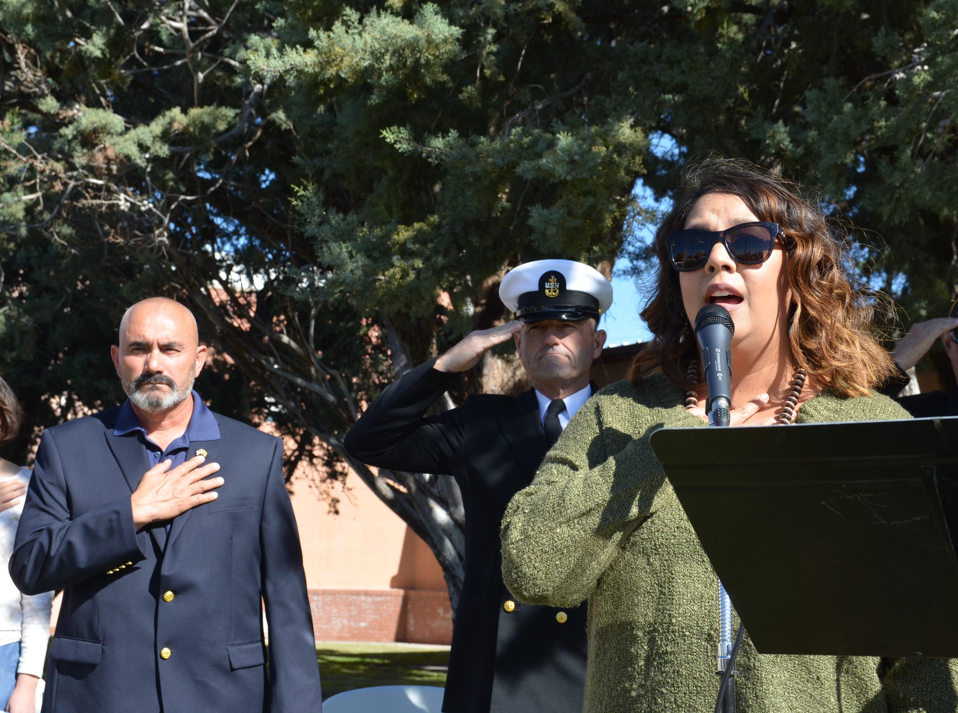 Performer Jessica Juarez Rios sang the National Anthem