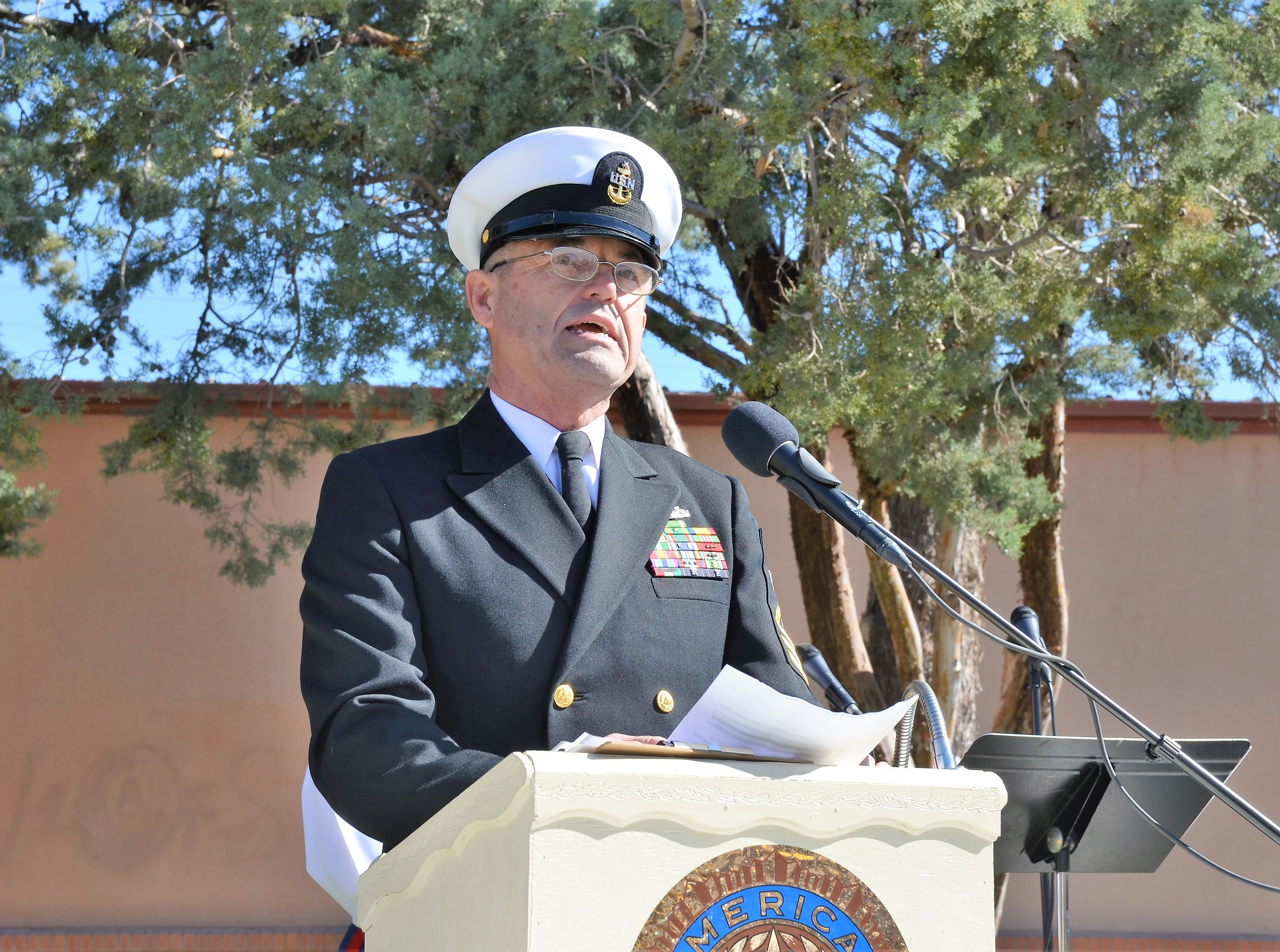 Guest speaker Chadwick Troyer a Navy veteran after serving 22 years addressed the crowd.