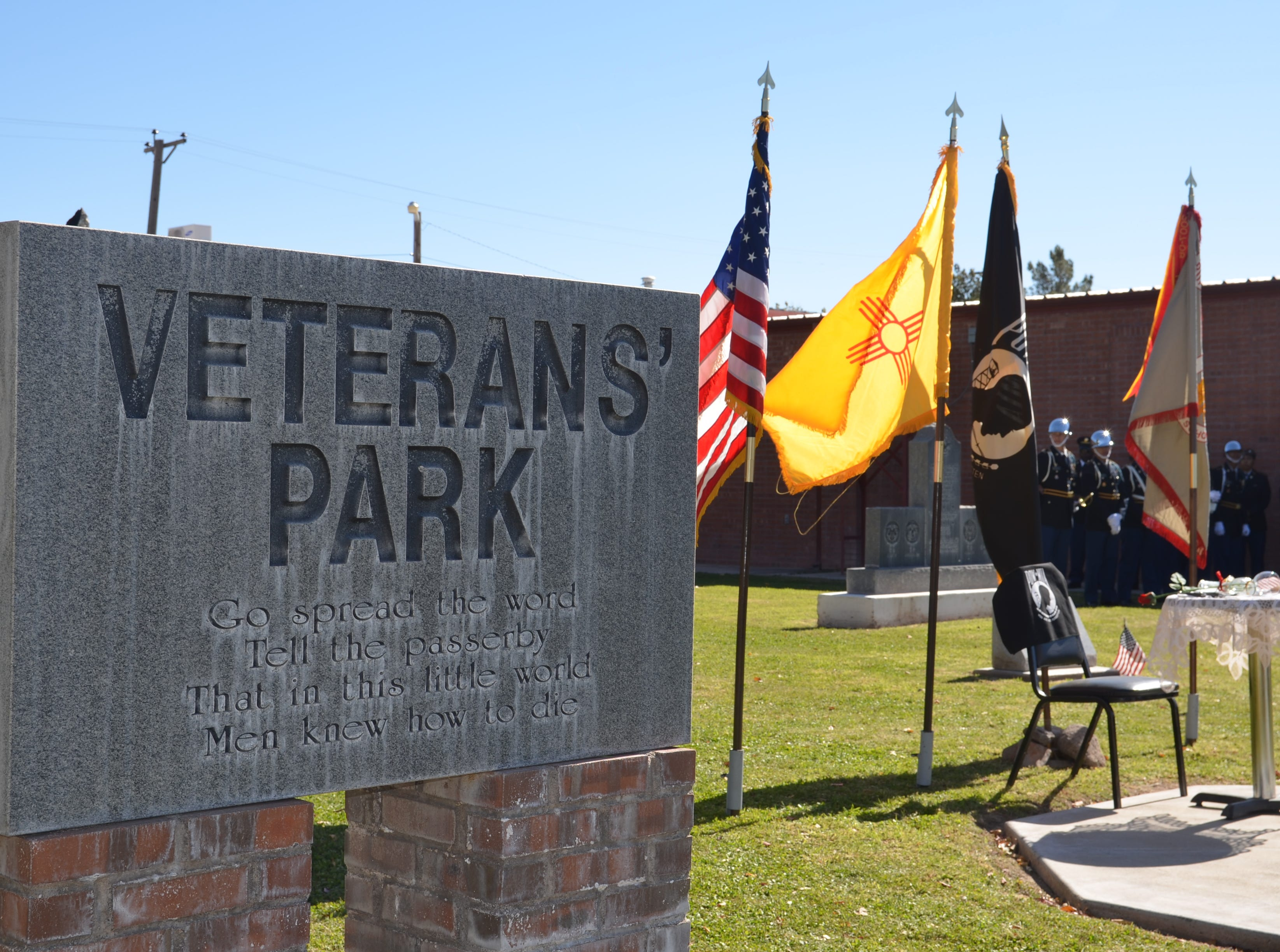 Local veterans across all military branches dedicated a ceremony to honor and recognize those who have given their lives to serve the country and its people at Veterans Park on Sunday.