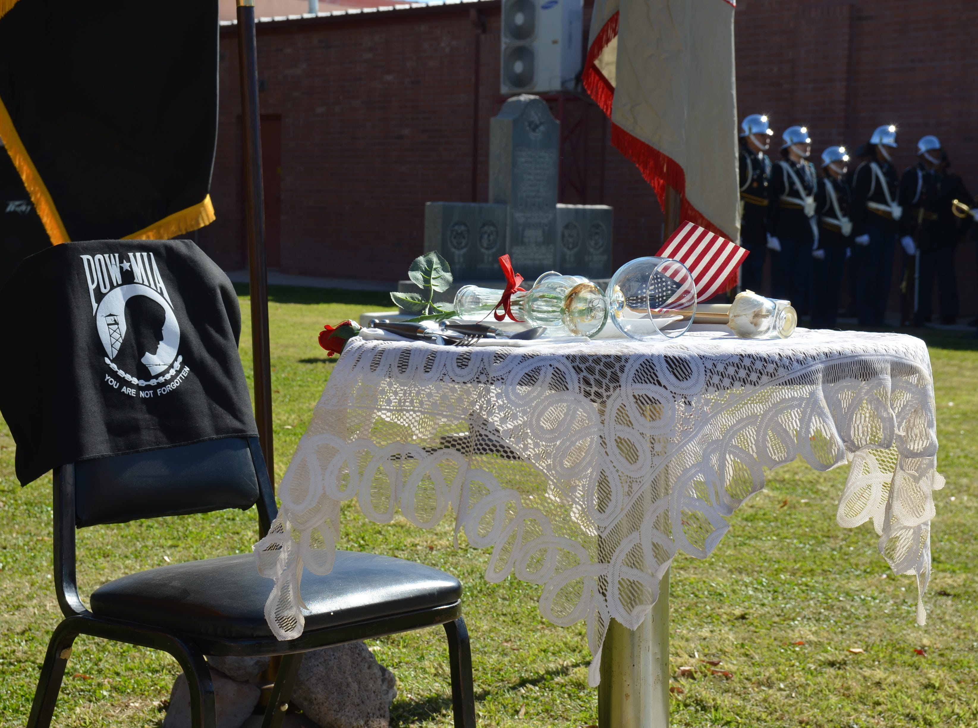 Prisoners of War and Missing in Action servicemen and women were commemorated during the Veteran's Day ceremony.