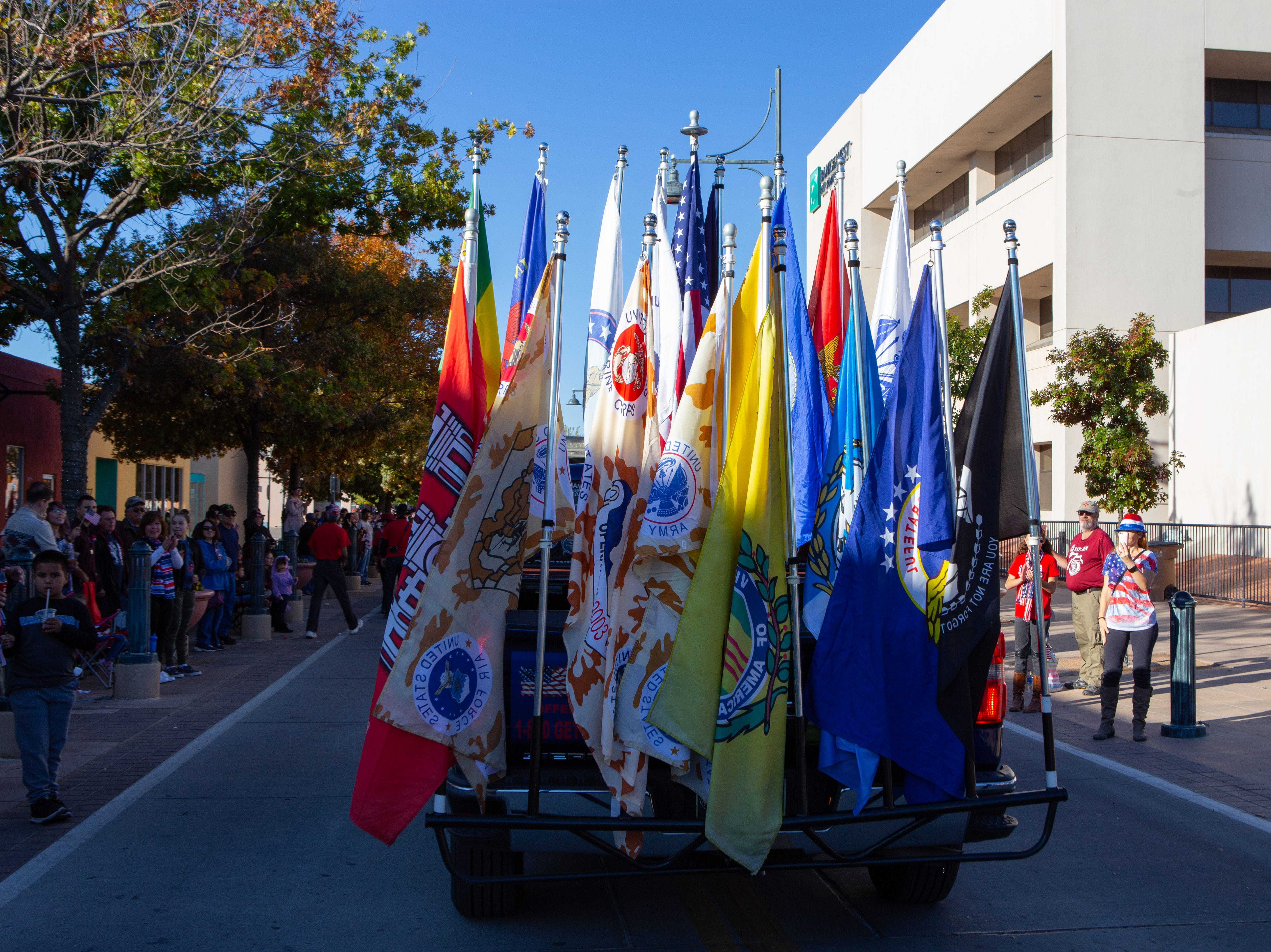 Various military flags during the Veterans Day Parade held on November 10, 2018.