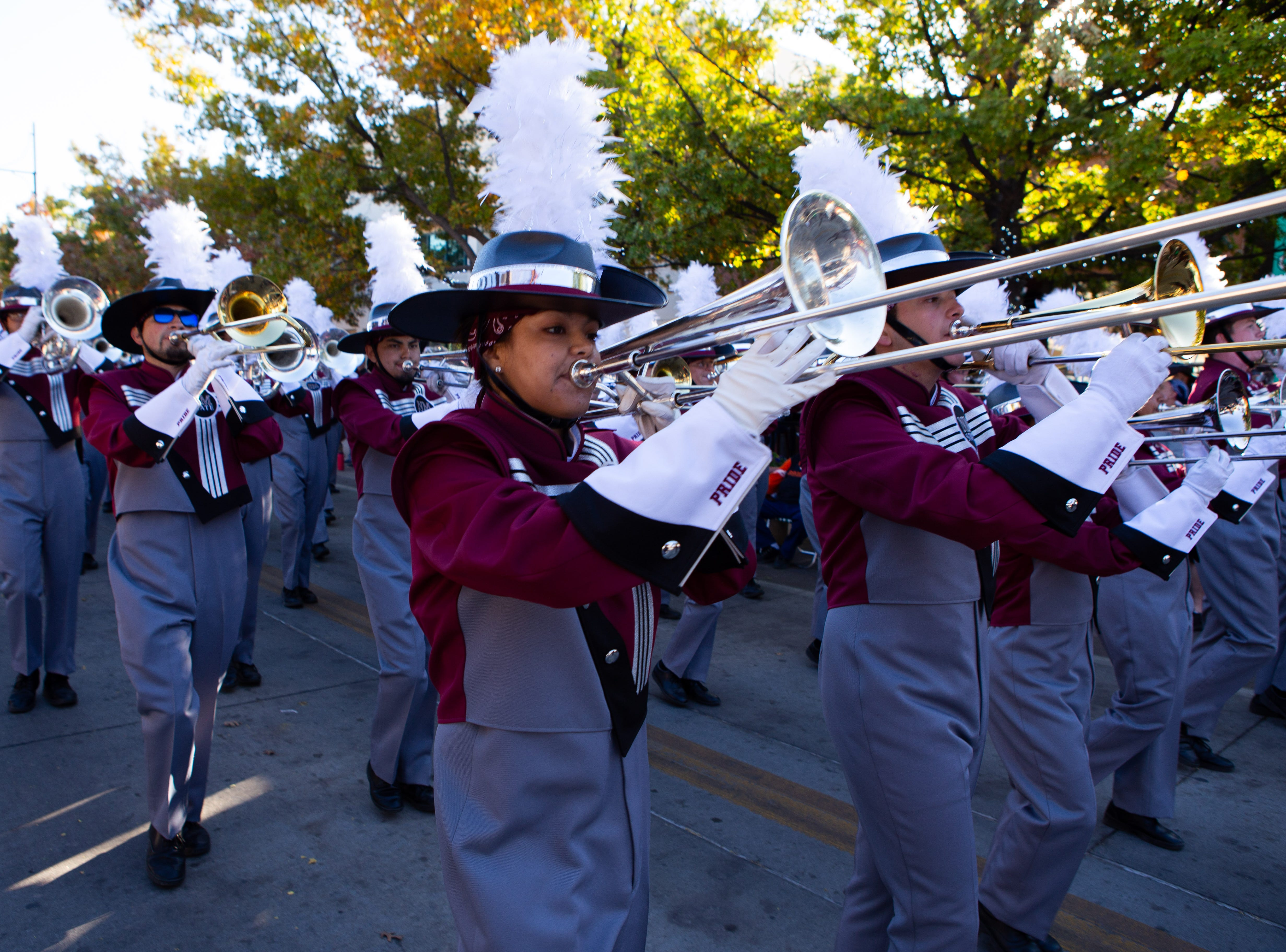 The NMSU Pride band marches during the  Veterans Day Parade held on November 10, 2018.