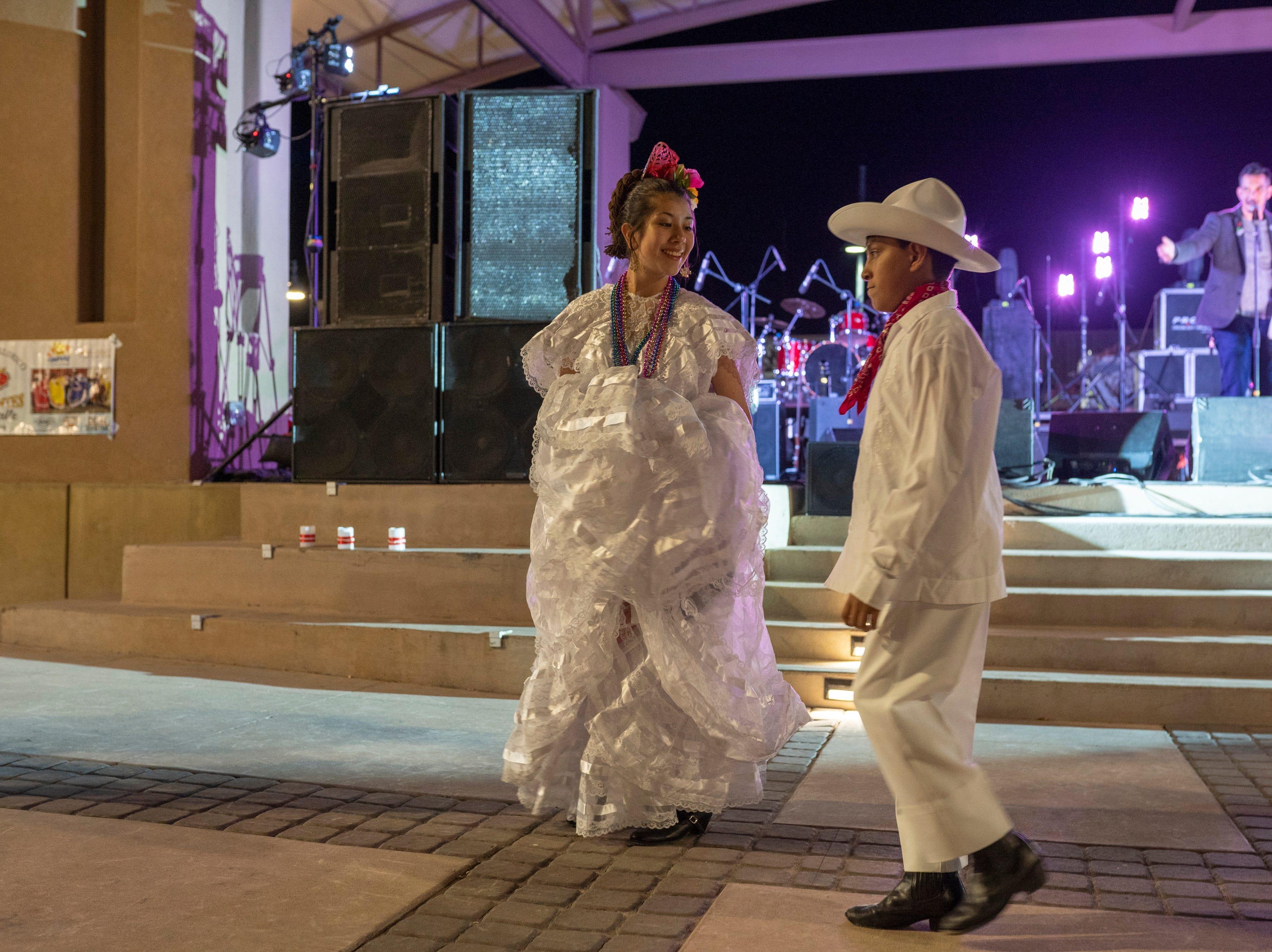 Ballet Folklorico Diamante del Valle perform during Noche de Nachos Saturday Nov. 10, 2018, in downtown Las Cruces.