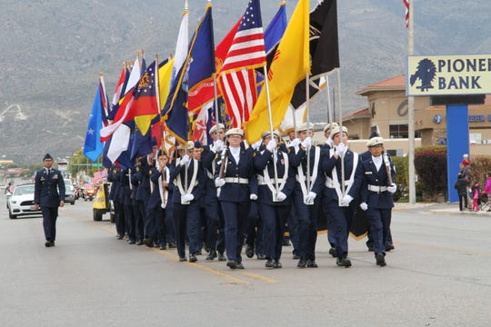 Alamogordo High School's Junior ROTC marched down 10th Street during Alamogordo's Veterans Day Parade Saturday.