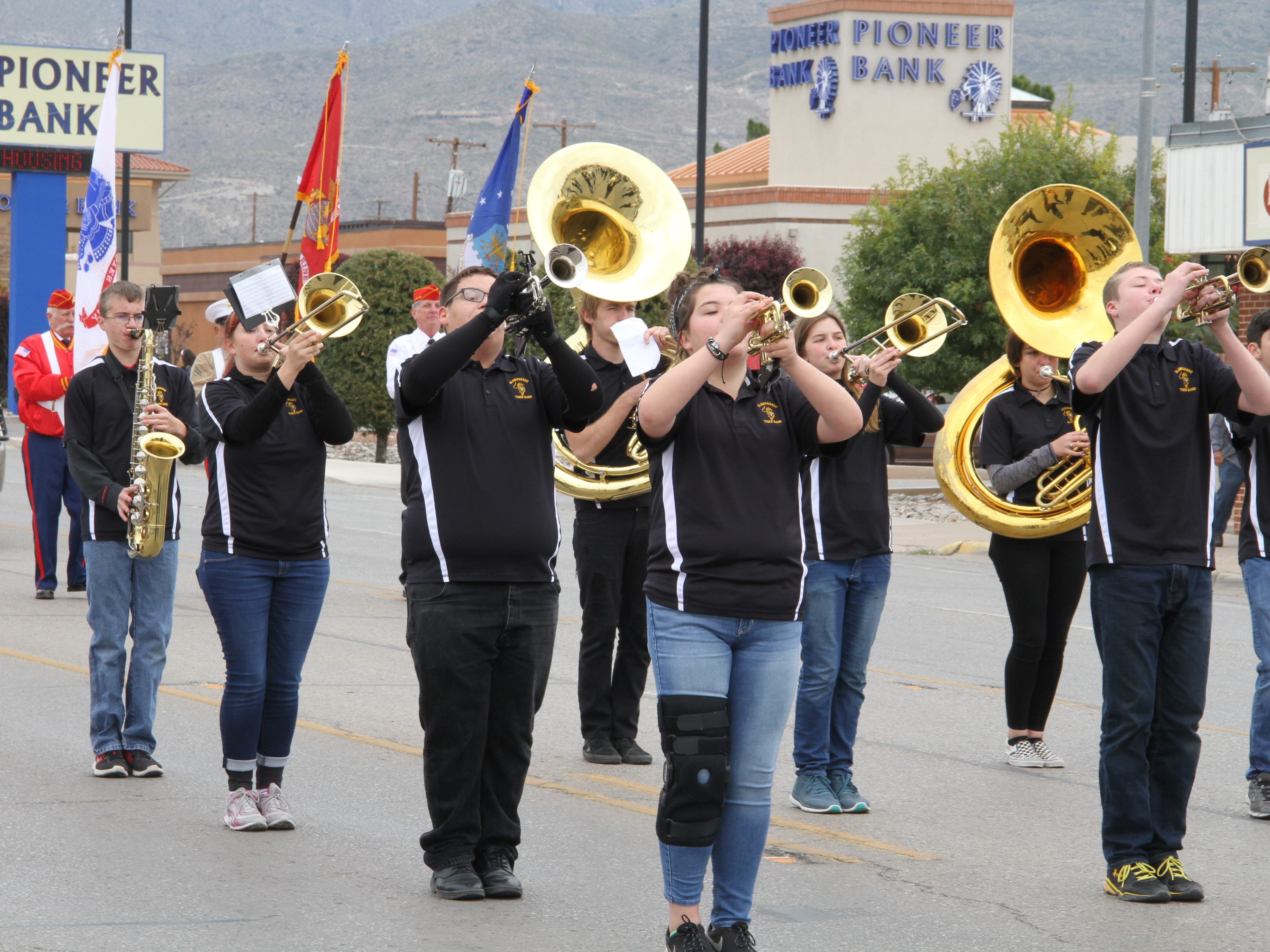 Alamogordo's Tiger Marching Band performed during the Veterans Day Parade Saturday.