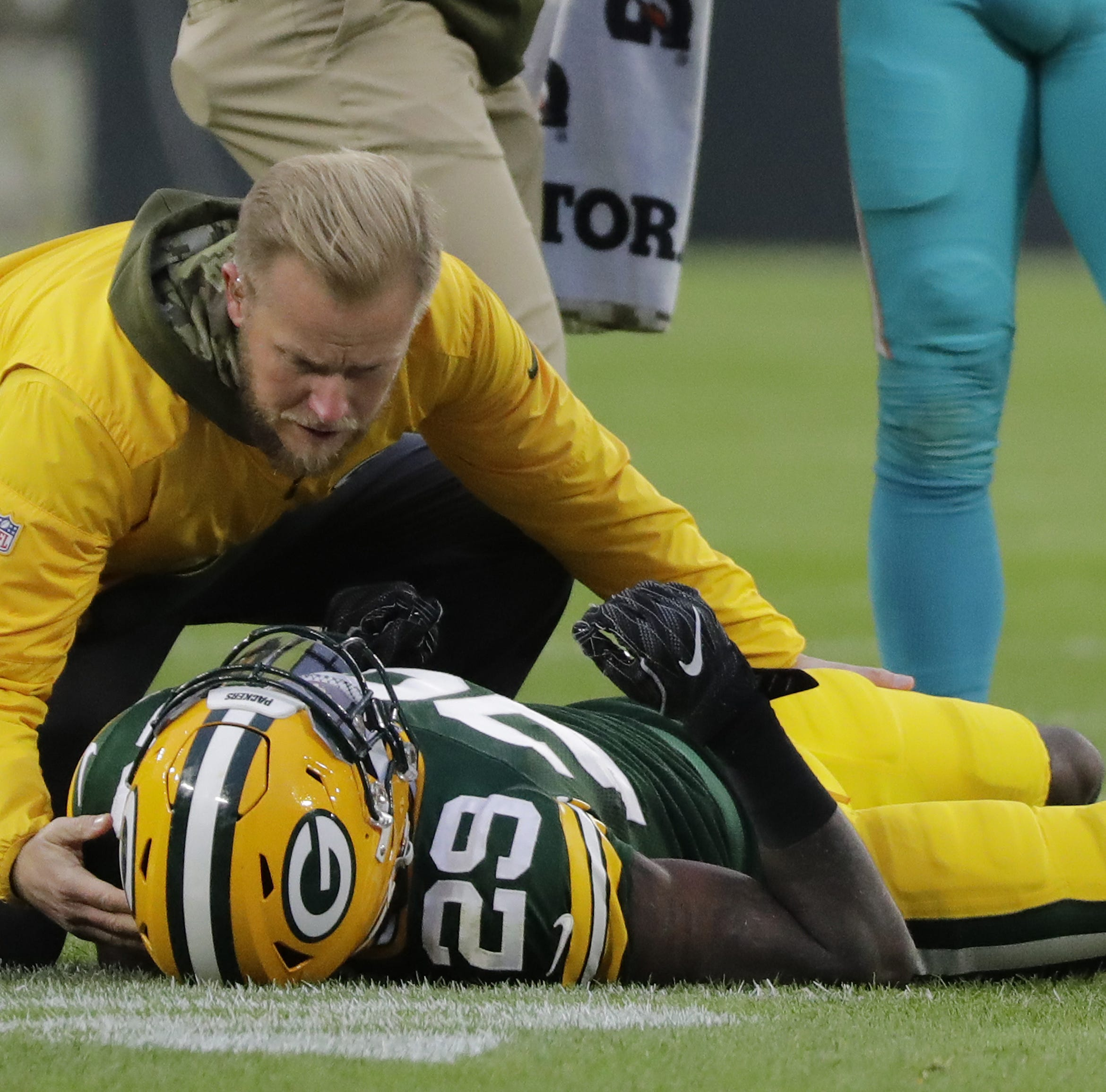 Green Bay Packers strong safety Kentrell Brice (29) lays injured on the field during the first half against the Miami Dolphins at Lambeau Field on Sunday, November 11, 2018 in Green Bay, Wis. Adam Wesley/USA TODAY NETWORK-Wisconsin