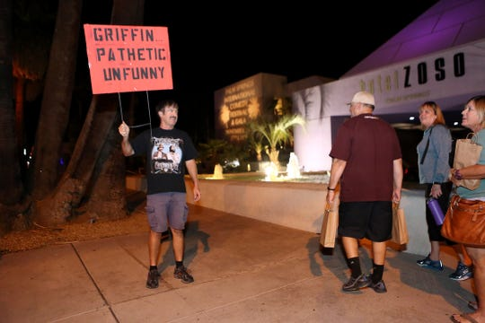 "James Hayton of Palm Springs protests outside the Palm Springs International Comedy Festival Awards Gala at Hotel Zoso in Palm Springs. The PSICF awarded Kathy Griffin the ""Comedian of the Year"" award."