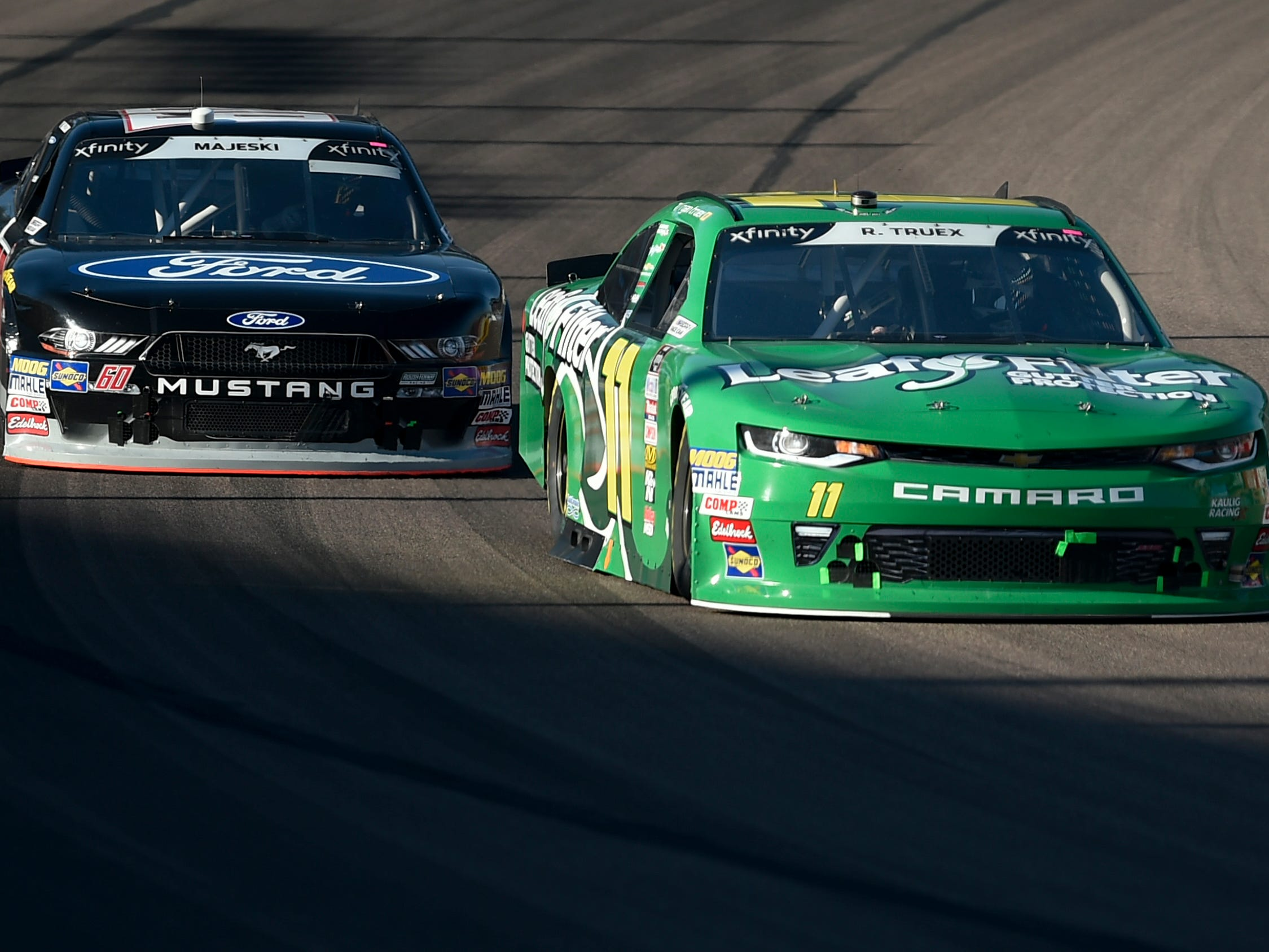 Nov 10, 2018; Avondale, AZ, USA; NASCAR Xfinity Series driver Ryan Truex (11) ahead of NASCAR Xfinity Series driver Ty Majeski (60) during the NASCAR Xfinity Series Race at ISM Raceway. Mandatory Credit: Kelvin Kuo-USA TODAY Sports