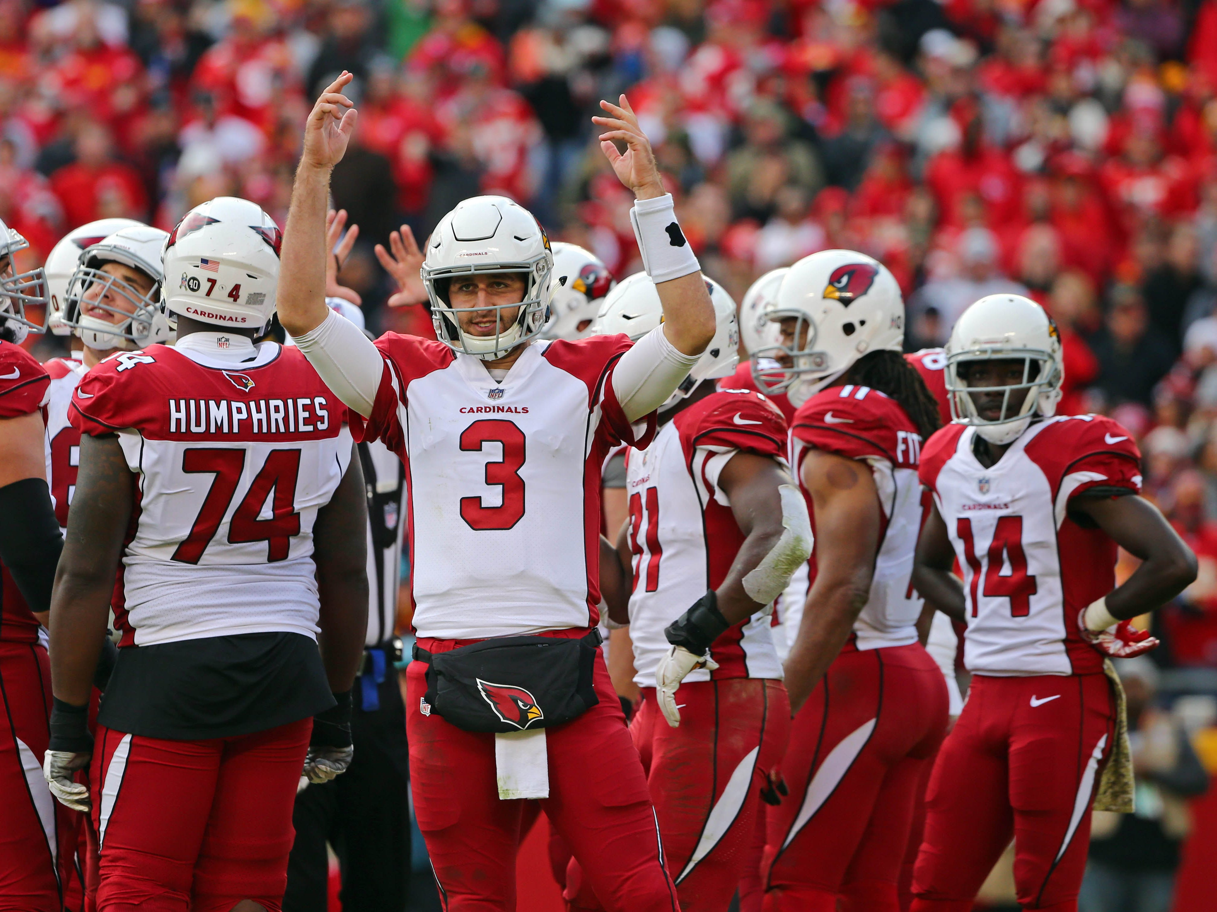 Nov 11, 2018; Kansas City, MO, USA; Arizona Cardinals quarterback Josh Rosen (3) reacts to the crowd in the second half against the Kansas City Chiefs at Arrowhead Stadium. Mandatory Credit: Jay Biggerstaff-USA TODAY Sports