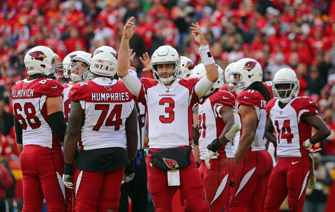 Nov 11, 2018; Kansas City, MO, USA; Arizona Cardinals quarterback Josh Rosen (3) reacts to the crowd in the second half against the Kansas City Chiefs at Arrowhead Stadium. Mandatory Credit: Jay Biggerstaff-USA TODAY Sports