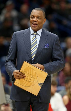 Pelicans coach Alvin Gentry looks on during the first quarter of a game against the Suns at Smoothie King Center.