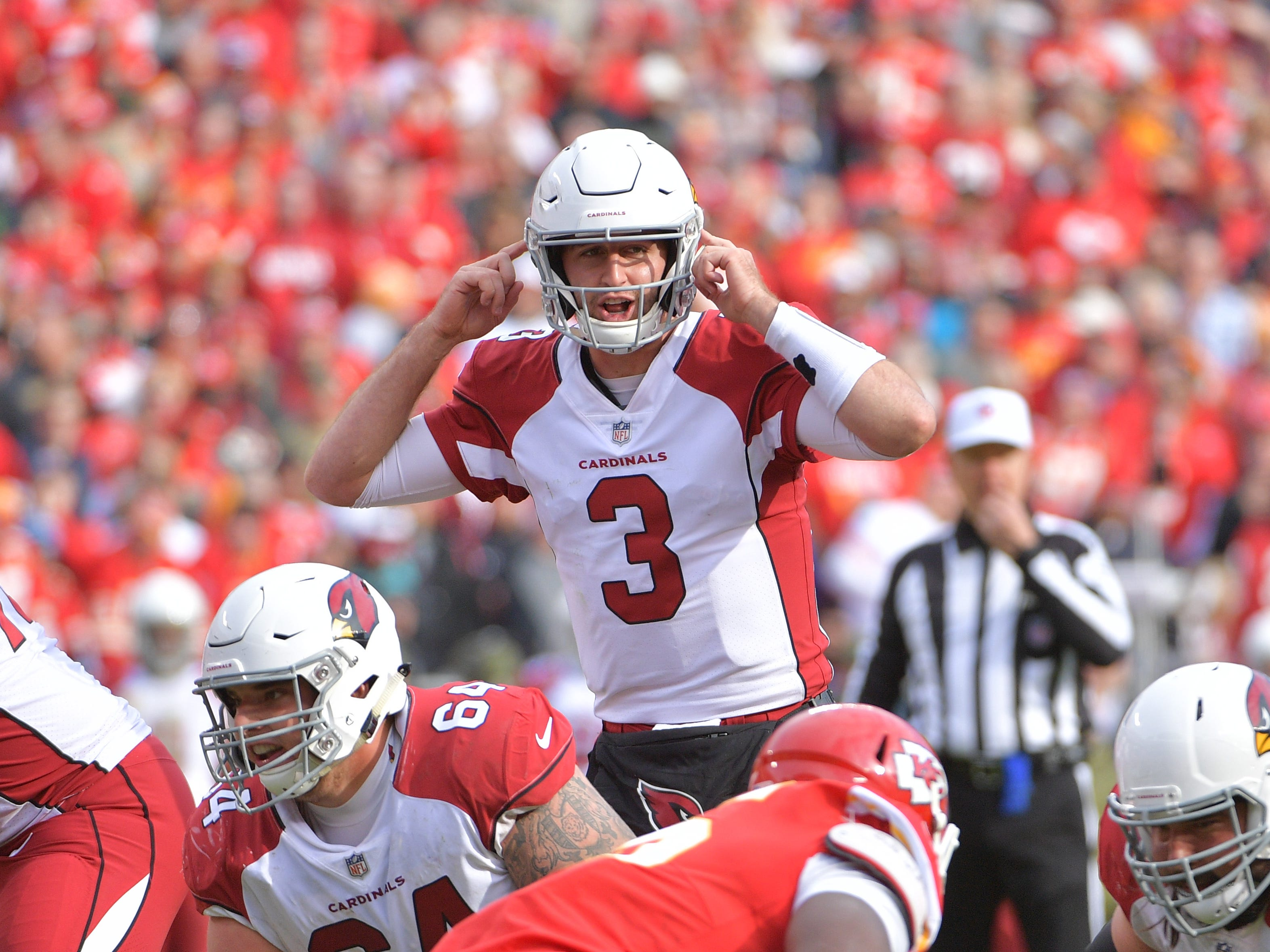 Nov 11, 2018; Kansas City, MO, USA; Arizona Cardinals quarterback Josh Rosen (3) motions on the line of scrimmage during the second half against the Kansas City Chiefs at Arrowhead Stadium. The Chiefs won 26-14. Mandatory Credit: Denny Medley-USA TODAY Sports
