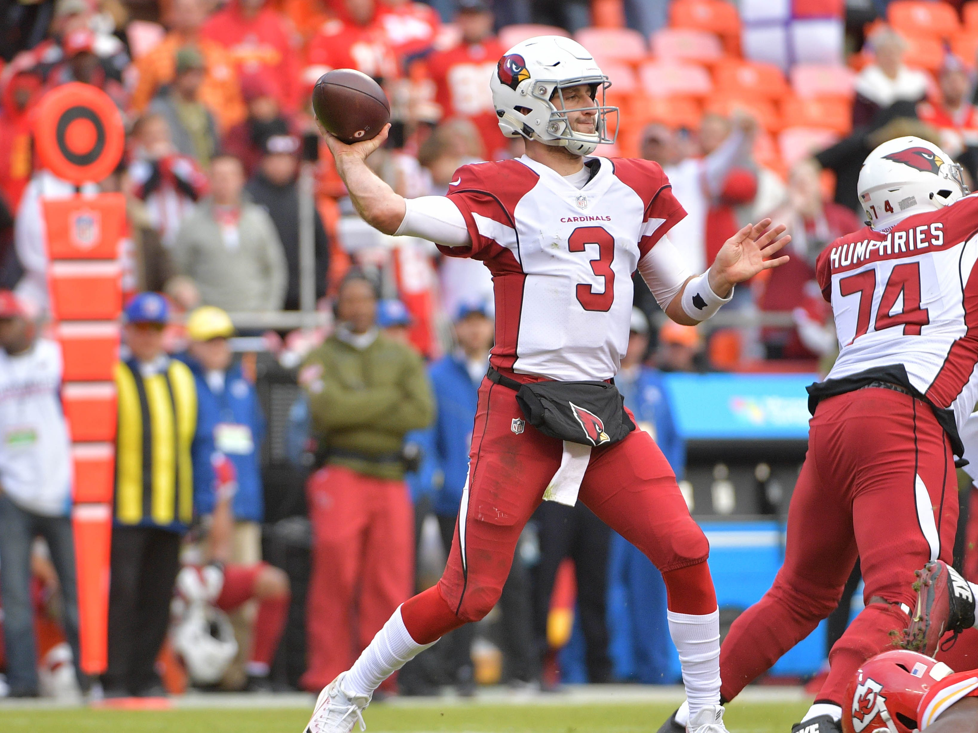 Nov 11, 2018; Kansas City, MO, USA; Arizona Cardinals quarterback Josh Rosen (3) throws a pass during the second half against the Kansas City Chiefs at Arrowhead Stadium. The Chiefs won 26-14. Mandatory Credit: Denny Medley-USA TODAY Sports