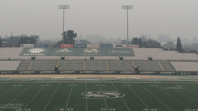 Saturday's game between Northern Arizona and Sacramento State was cancelled because of poor air quality from wildfires near Sacramento.