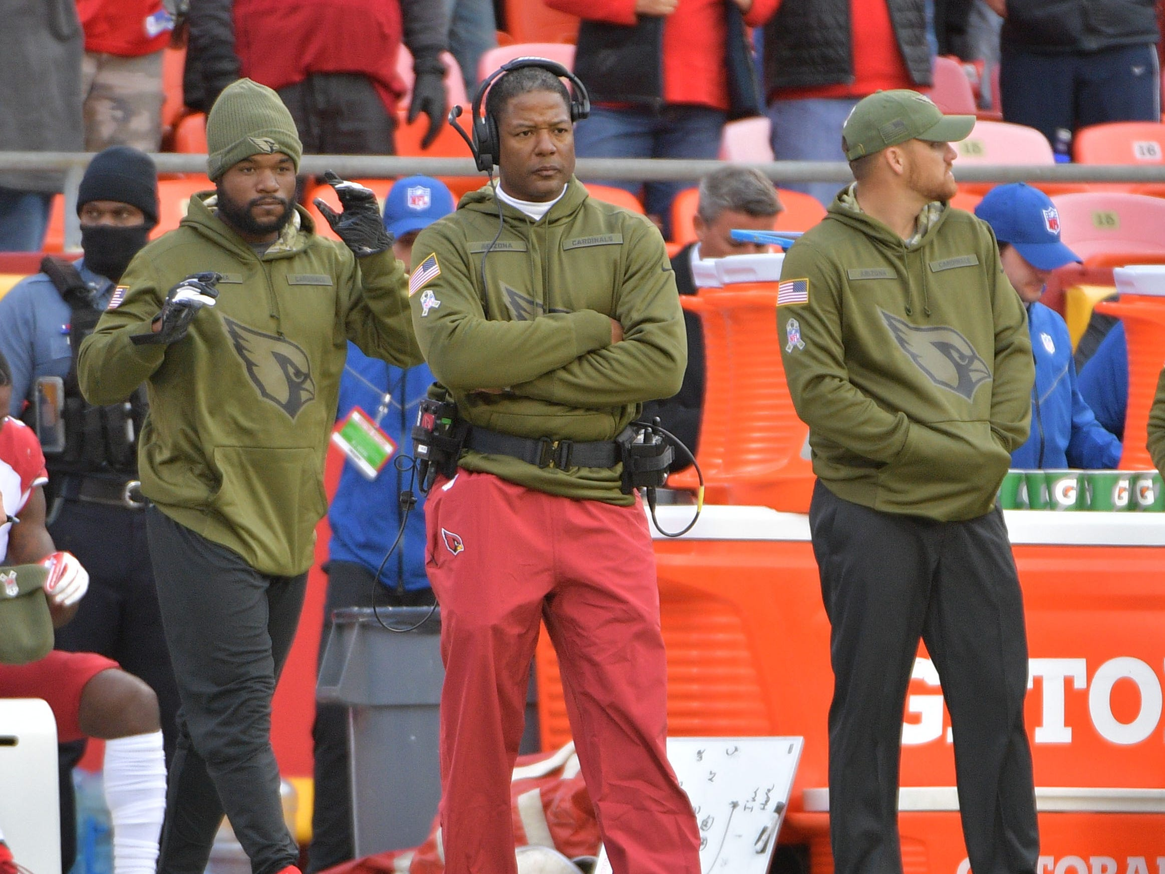 Nov 11, 2018; Kansas City, MO, USA; Arizona Cardinals head coach Steve Wilks watches play on the sidelines during the second half against the Kansas City Chiefs at Arrowhead Stadium. The Chiefs won 26-14. Mandatory Credit: Denny Medley-USA TODAY Sports