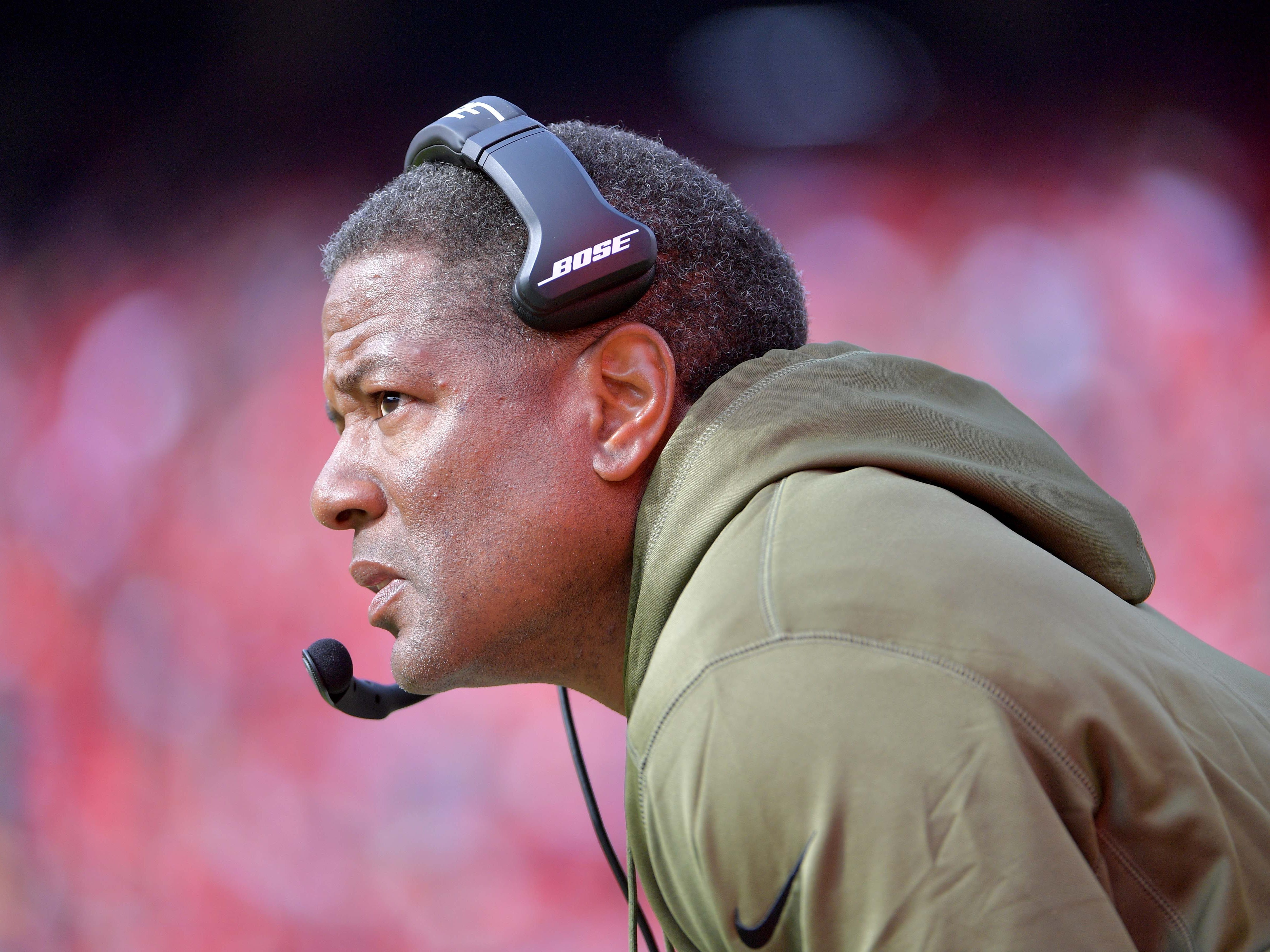Nov 11, 2018; Kansas City, MO, USA; Arizona Cardinals head coach Steve Wilks watches play on the sidelines during the first half against the Kansas City Chiefs at Arrowhead Stadium. Mandatory Credit: Denny Medley-USA TODAY Sports