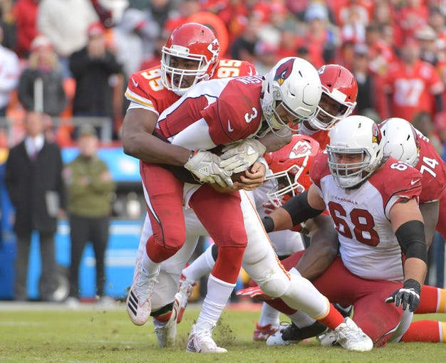 Nov 11, 2018; Kansas City, MO, USA; Arizona Cardinals quarterback Josh Rosen (3) is sacked by Kansas City Chiefs defensive end Chris Jones (95) during the second half at Arrowhead Stadium. The Chiefs won 26-14. Mandatory Credit: Denny Medley-USA TODAY Sports