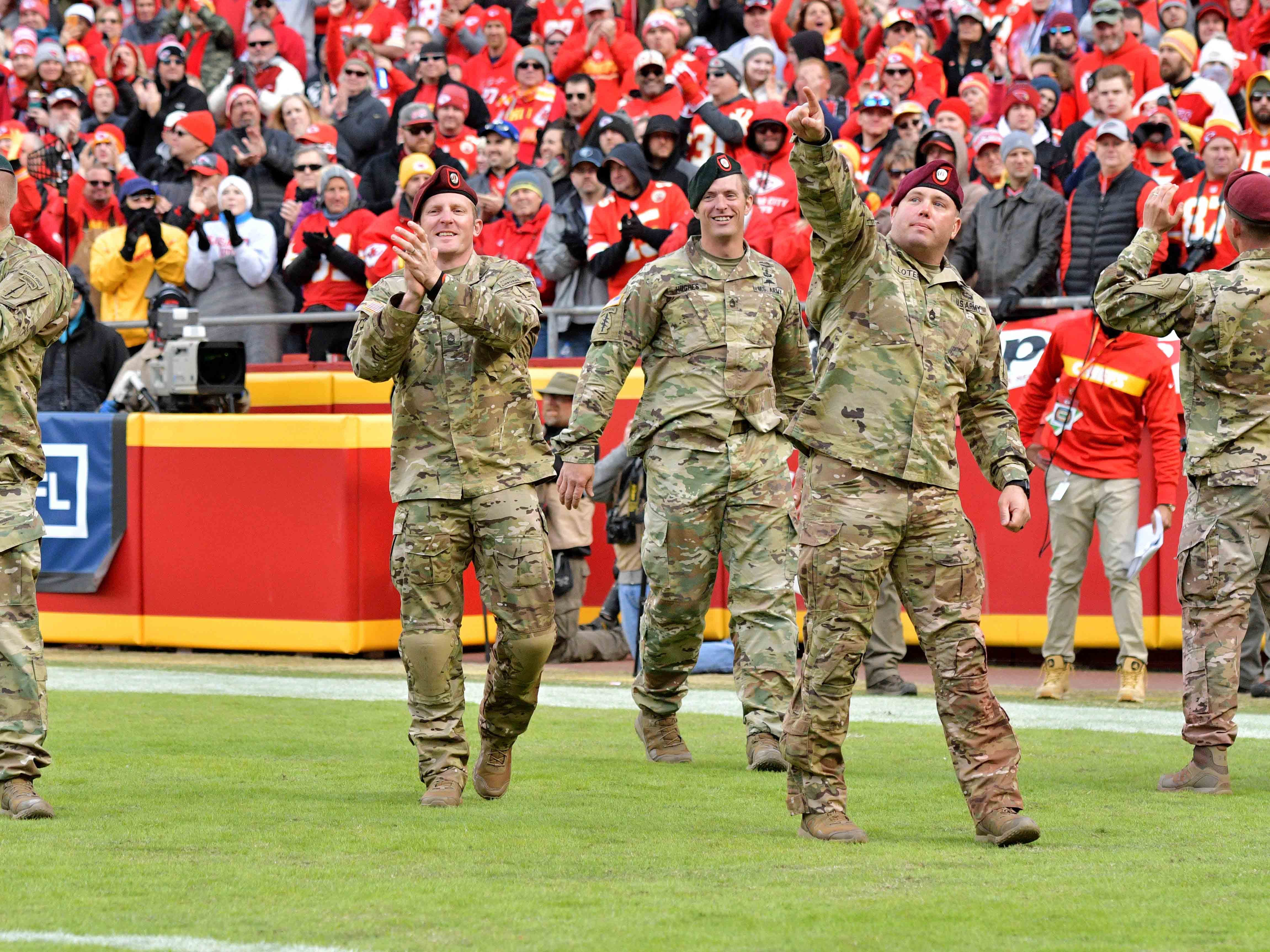 Nov 11, 2018; Kansas City, MO, USA; Members of the Black Dagger paratrooper squadron are introduced on field during the second half of the game between the Kansas City Chiefs and Arizona Cardinals at Arrowhead Stadium. The Chiefs won 26-14. Mandatory Credit: Denny Medley-USA TODAY Sports