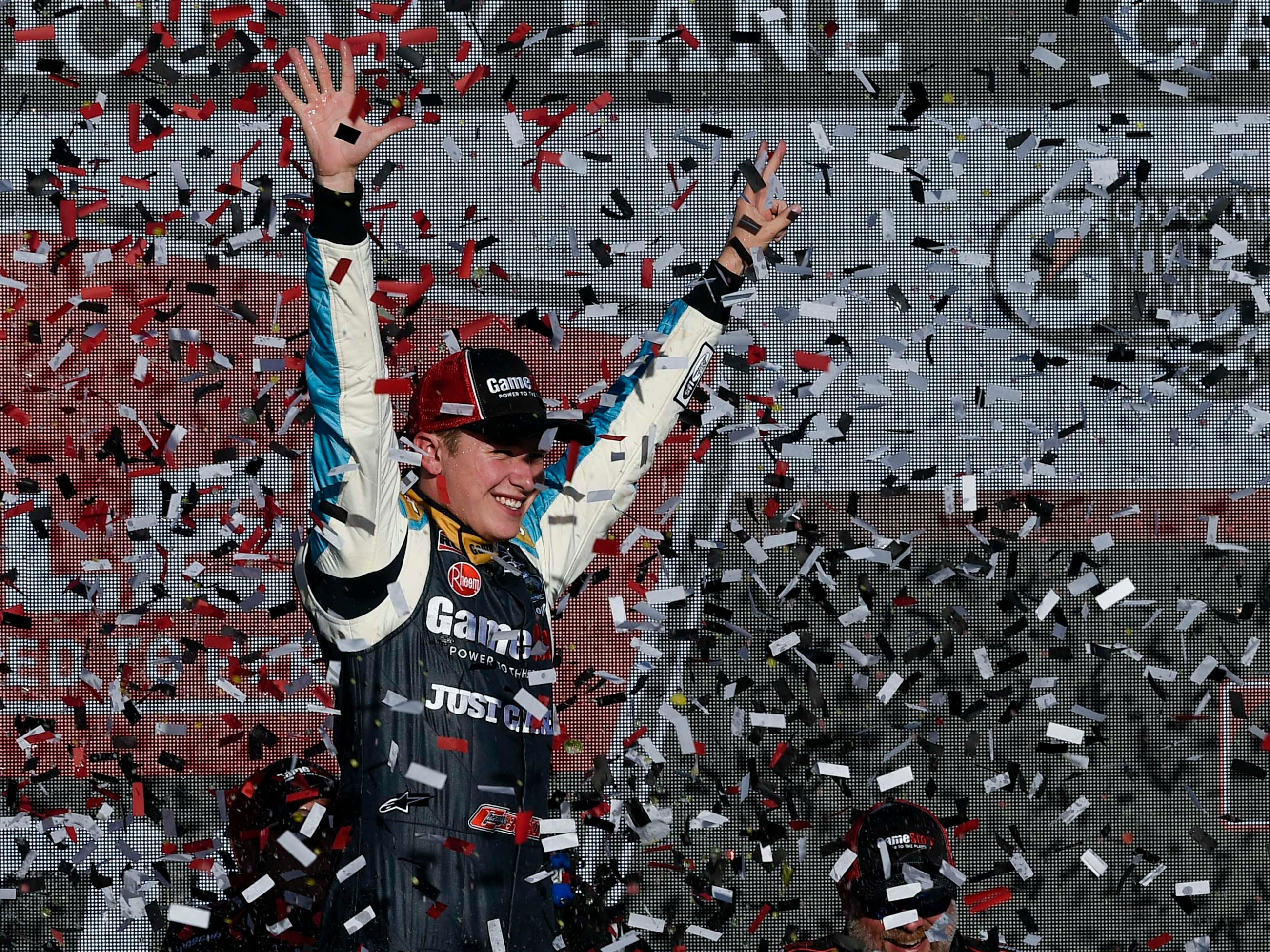 Nov 10, 2018; Avondale, AZ, USA; NASCAR Xfinity Series driver Christopher Bell (20) celebrates after winning the NASCAR Xfinity Series Race at ISM Raceway. Mandatory Credit: Kelvin Kuo-USA TODAY Sports