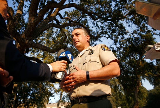 Ventura County Sheriff's Department PIO Capt. Garo Kuredjian talks to the media on Friday, Nov. 9, 2108, in Thousand Oaks, Calif. Twelve people were shot and killed Wednesday by gunman Ian David Long who opened fire at the Borderline Bar and Grill.
