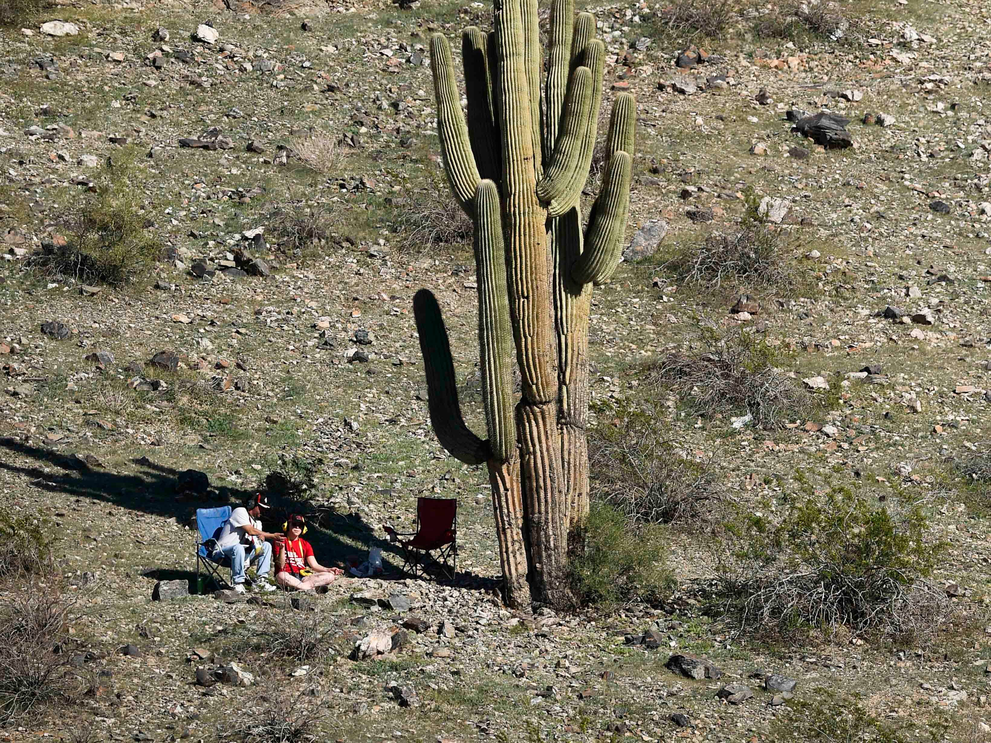 Nov 11, 2018; Avondale, AZ, USA; Fans sit next to a cactus during the Can-Am 500 at ISM Raceway. Mandatory Credit: Kelvin Kuo-USA TODAY Sports