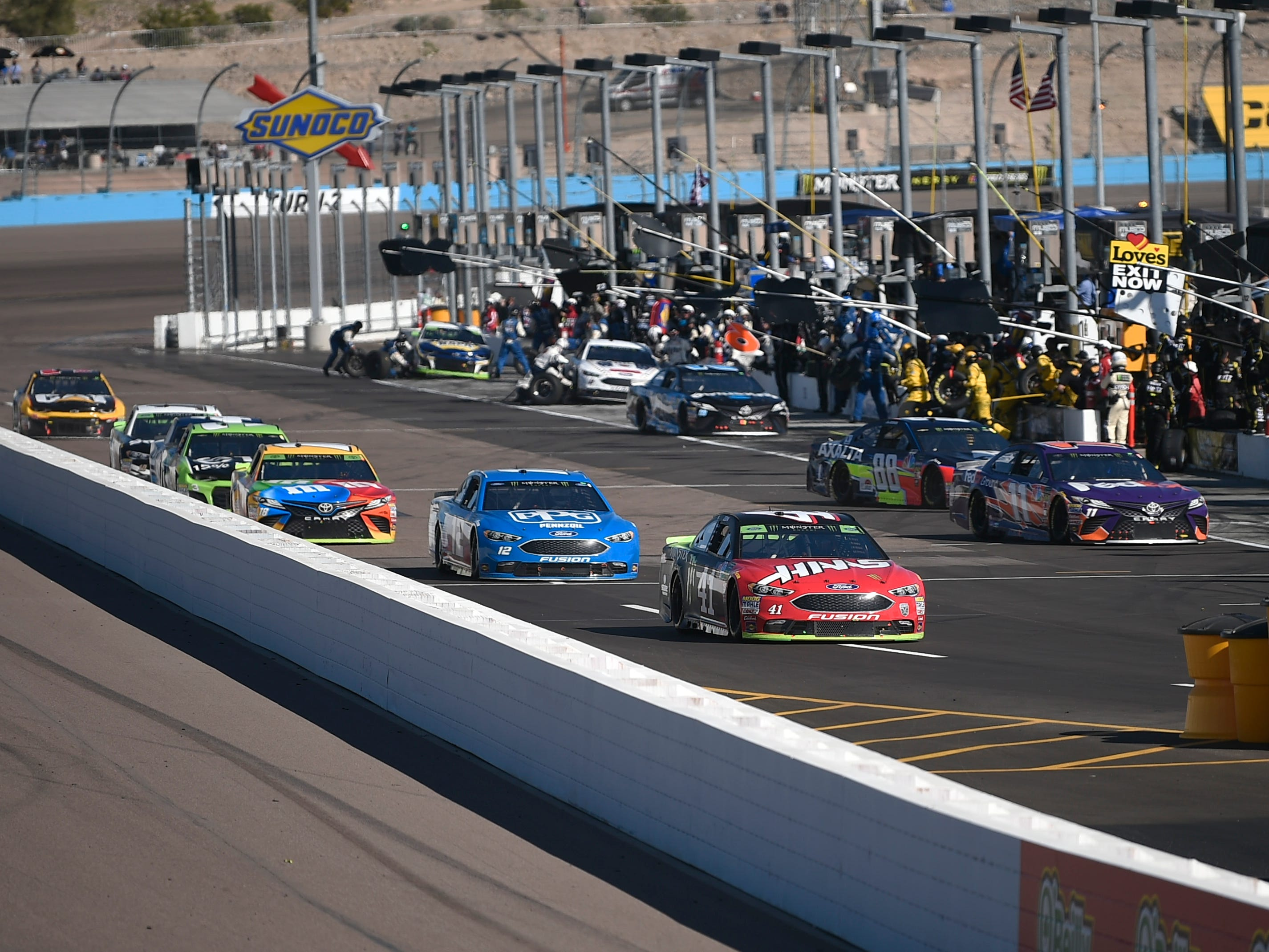Nov 11, 2018; Avondale, AZ, USA; A general view as cars head into pit row during the Can-Am 500 at ISM Raceway. Mandatory Credit: Kelvin Kuo-USA TODAY Sports