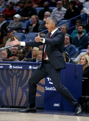 Nov 10, 2018; New Orleans, LA, USA; Phoenix Suns head coach Igor Kokoskov reacts to a play in the first quarter against the New Orleans Pelicans at the Smoothie King Center. Mandatory Credit: Chuck Cook-USA TODAY Sports