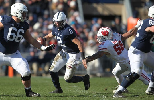 Penn State quarterback Tommy Stevens, center, seen here in a file photo, wants to prove his durability this season.