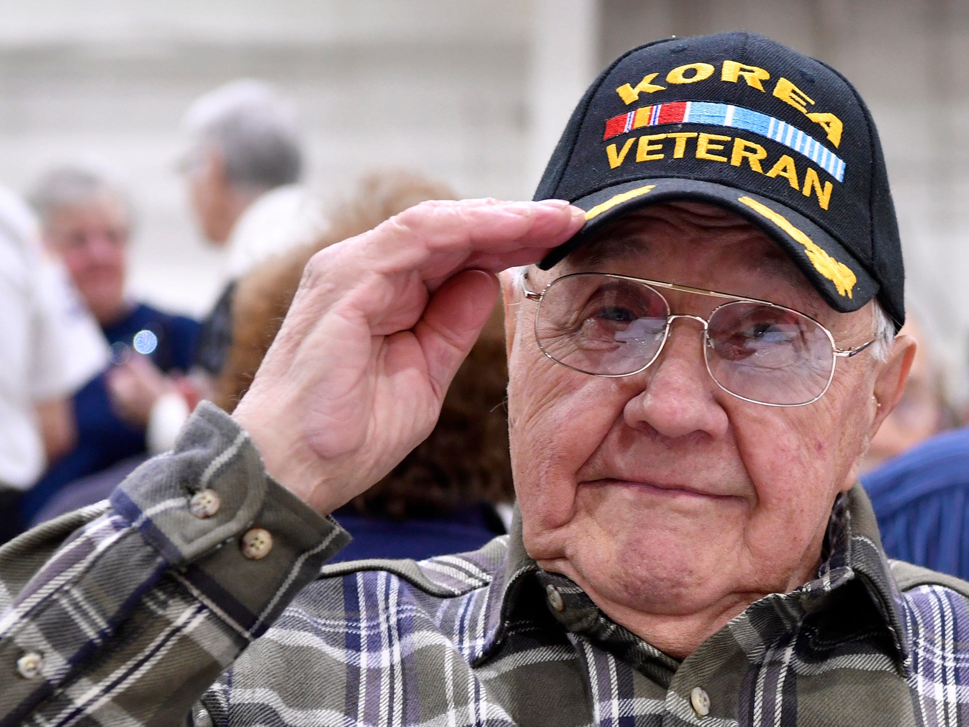 Roger Zeigler of West York salutes during the 2018 York County Veterans Day Celebration, Sunday, November 11, 2018. Zeigler, 88, served with the US Army Corps of Engineers during the Korean War.John A. Pavoncello photo